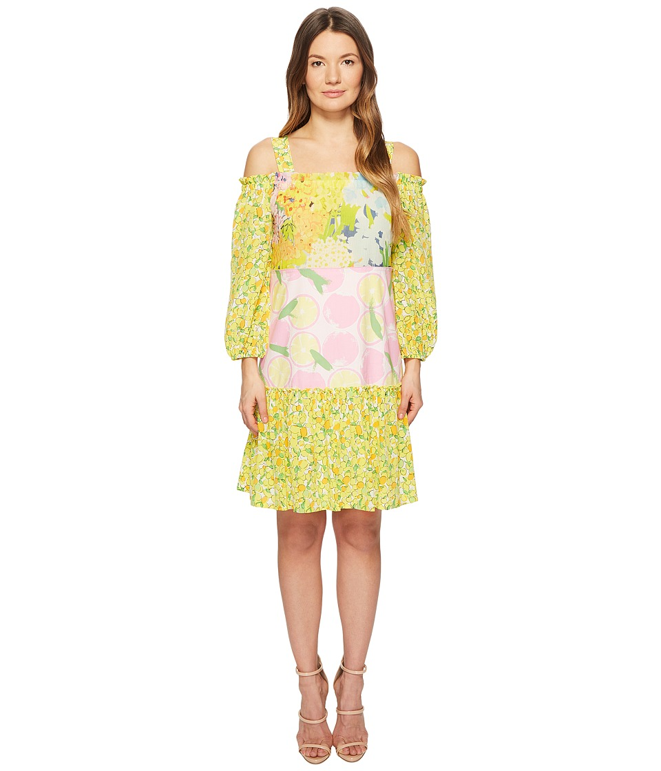 Boutique Moschino - Patchwork Print Dress with Cold Shoulder Sleeves (Fantasy Print Yellow) Womens Dress