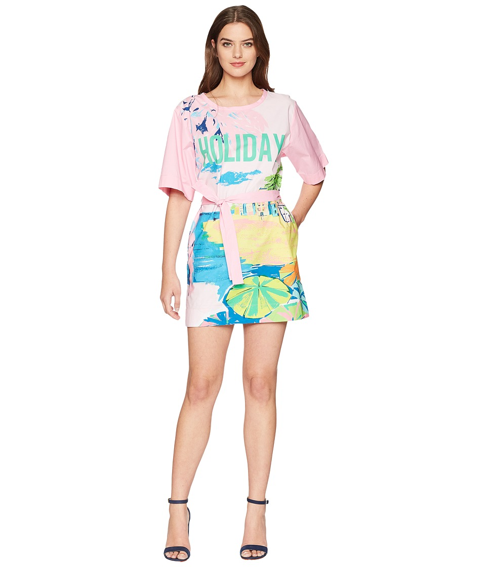 Boutique Moschino - Landscape Print T-Shirt Dress with Tie Belt (Fantasy Print Violet) Womens Dress