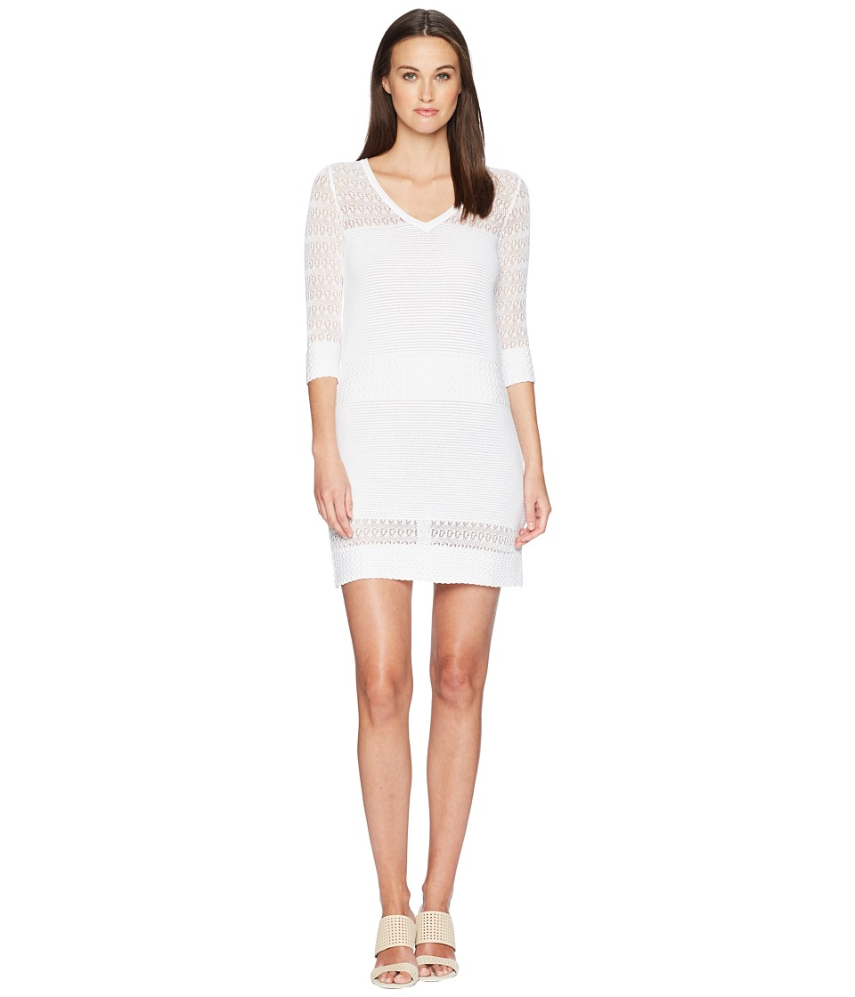 Boutique Moschino - Stretch Viscose Dress with Sheer Detailing (White) Womens Dress
