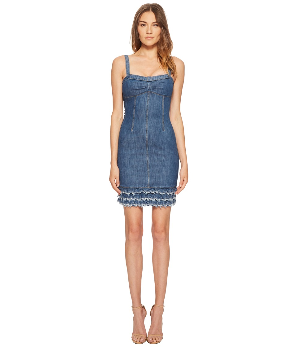 Boutique Moschino - Denim Dress with Denim Fringe (Fantasy Print Blue) Womens Dress