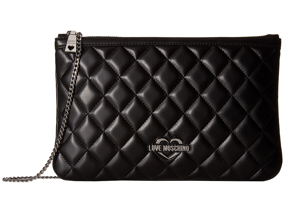 LOVE Moschino - Quilted Crossbody Chain Strap (Fantasy Black/Nickle Chain) Cross Body Handbags