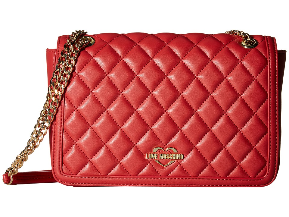 LOVE Moschino - Quilted Crossbody Chain Strap (Red) Cross Body Handbags
