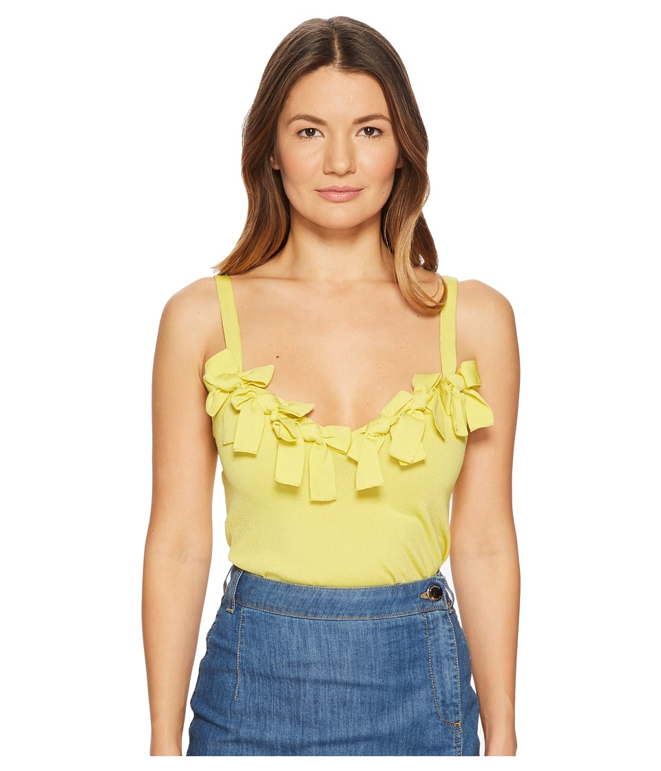 Boutique Moschino - Stretch Viscose Sleeveless Blouse with Bow Applications (Yellow) Womens Blouse