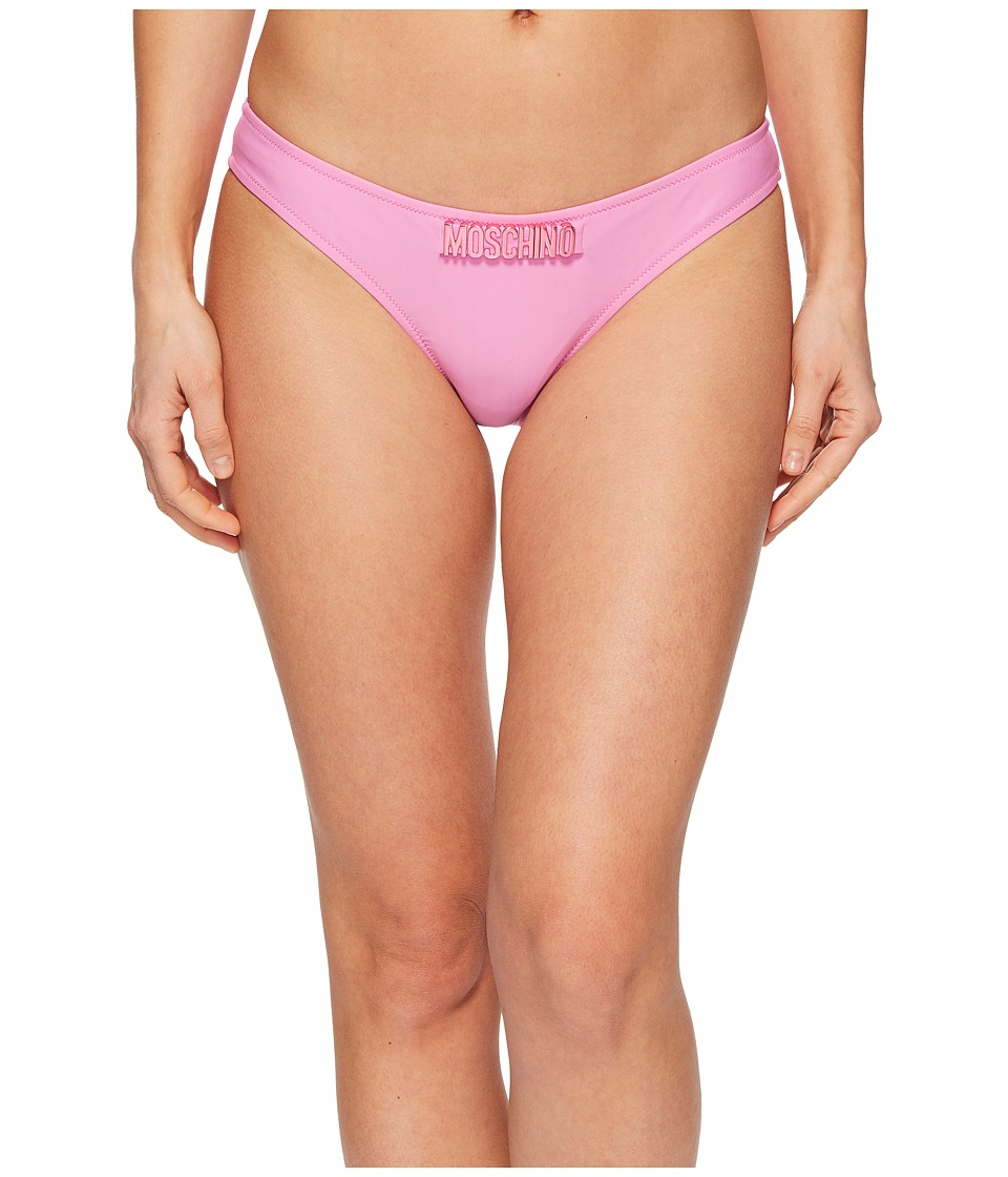Moschino - Basic and Logo Brief Bottom (Pink) Womens Swimwear