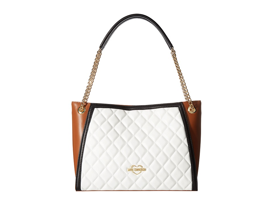 LOVE Moschino - Quilted Tote (Fantasy White/Tan/Black) Tote Handbags