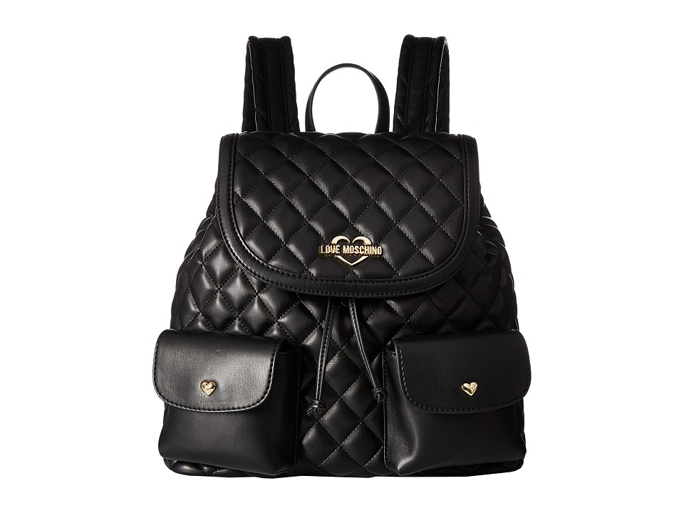 LOVE Moschino - Quilted Backpack (Fantasy Black/Gold Logo) Backpack Bags