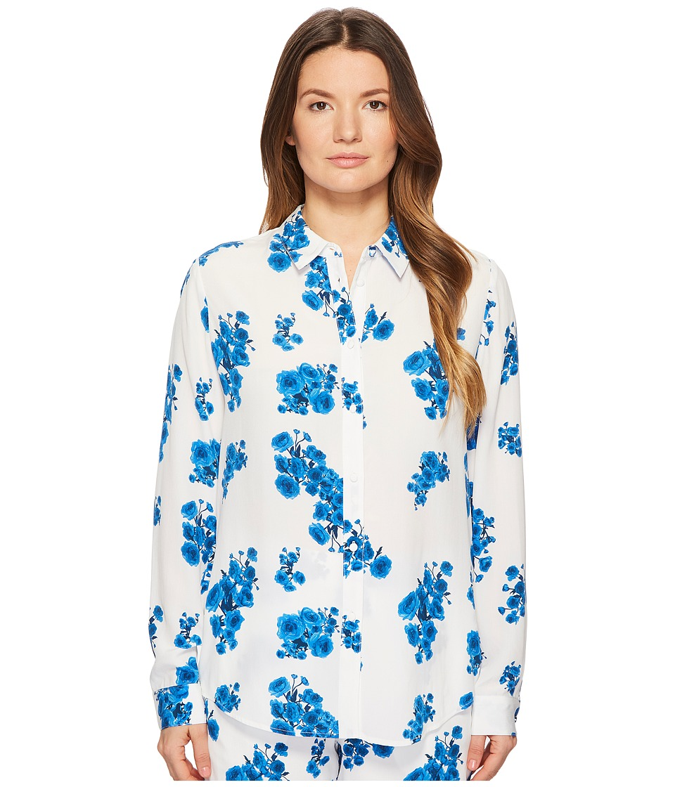 BALDWIN - Nora (Blue Floral Print) Womens Long Sleeve Button Up