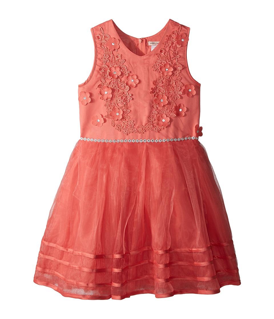 Nanette Lepore Kids - Matte Satin Dress w/ Flowers (Little Kids/Big Kids) (Coral) Girls Dress