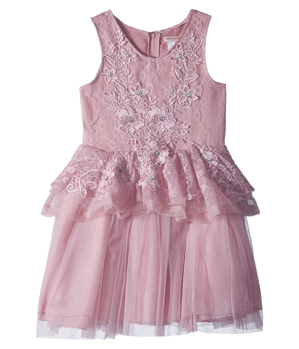 Nanette Lepore Kids - Lace/Tulle Dress with 3D Flowers (Little Kids/Big Kids) (Lilac) Girls Dress