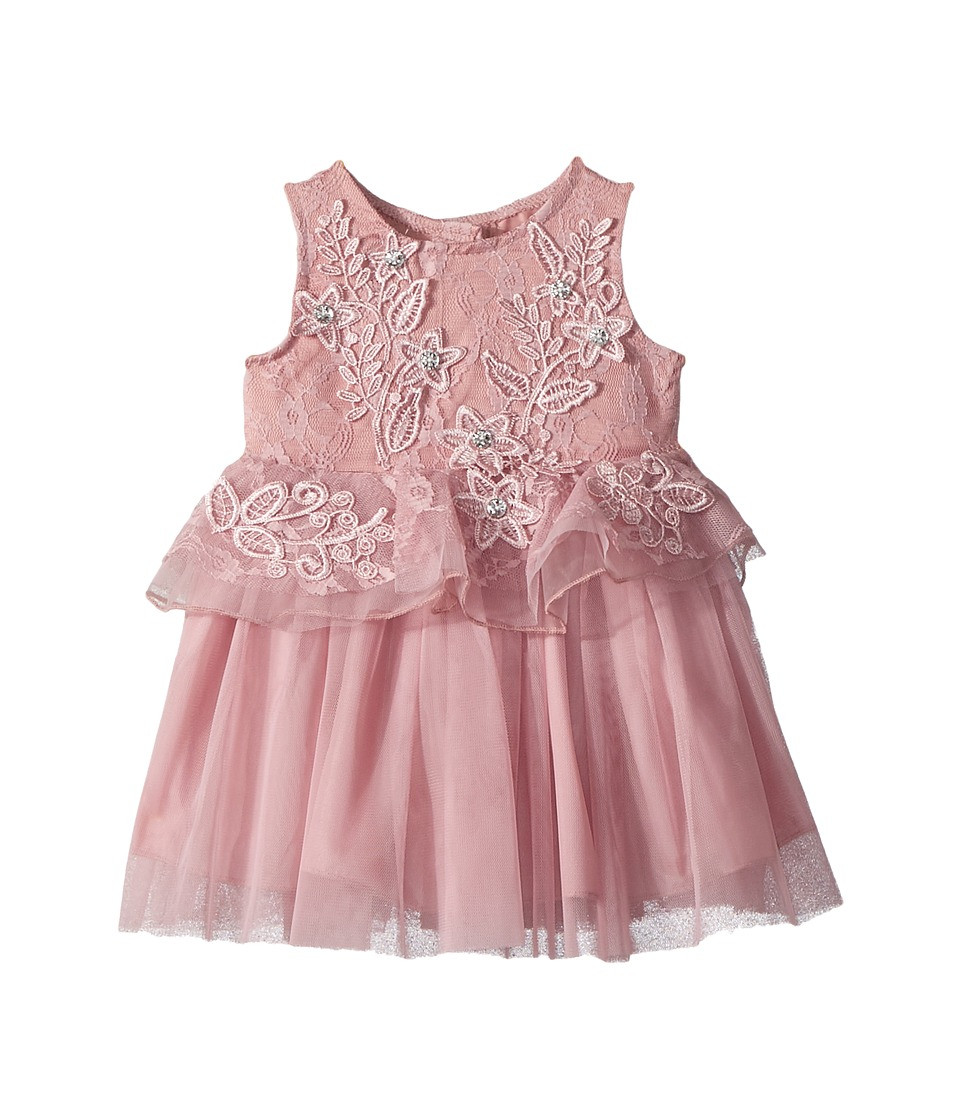 Nanette Lepore Kids - Lace and Tulle Dress with 3D Flowers (Infant) (Lilac) Girls Dress