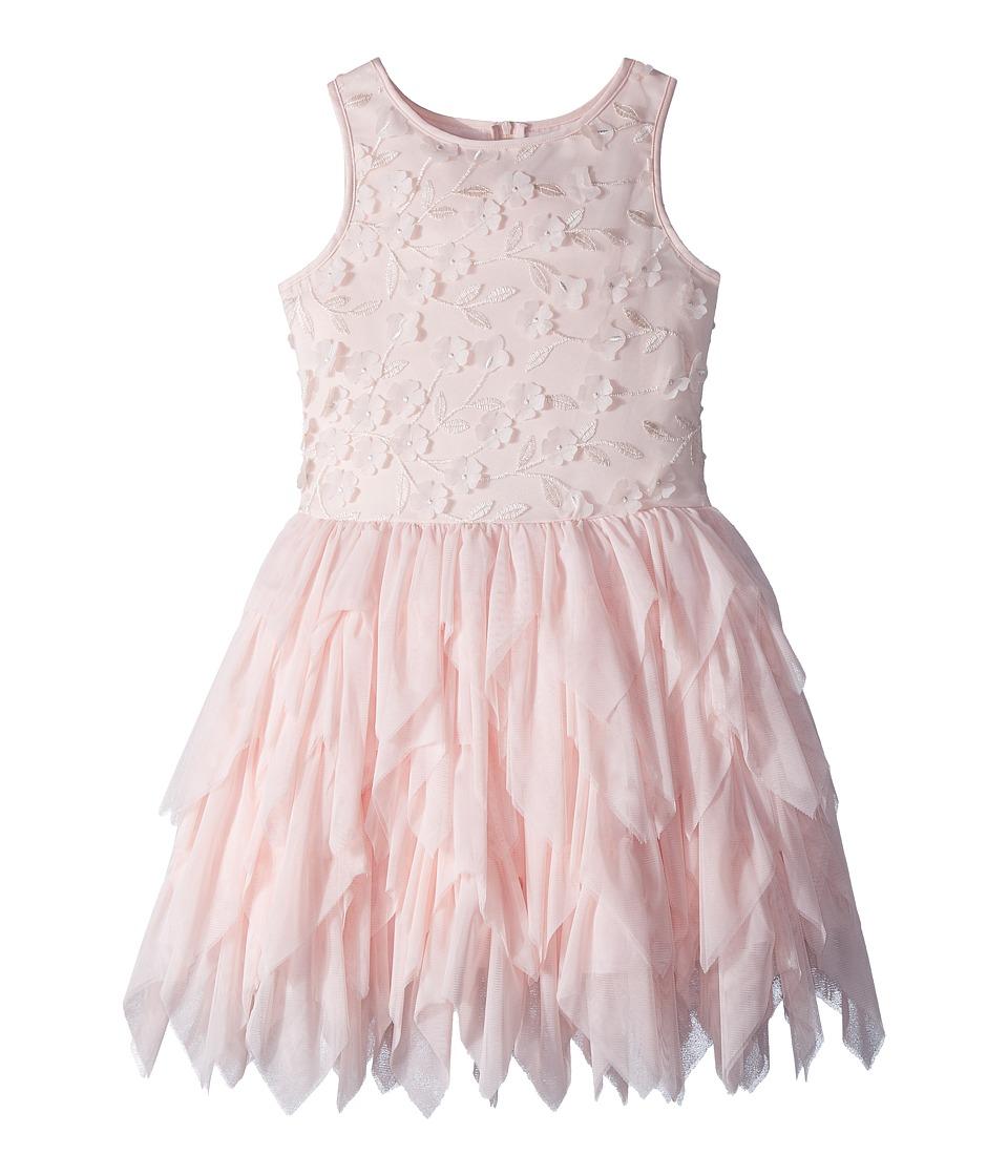 Nanette Lepore Kids - Embroidered Tulle Dress w/ Matte Satin (Little Kids/Big Kids) (Peach) Girls Dress