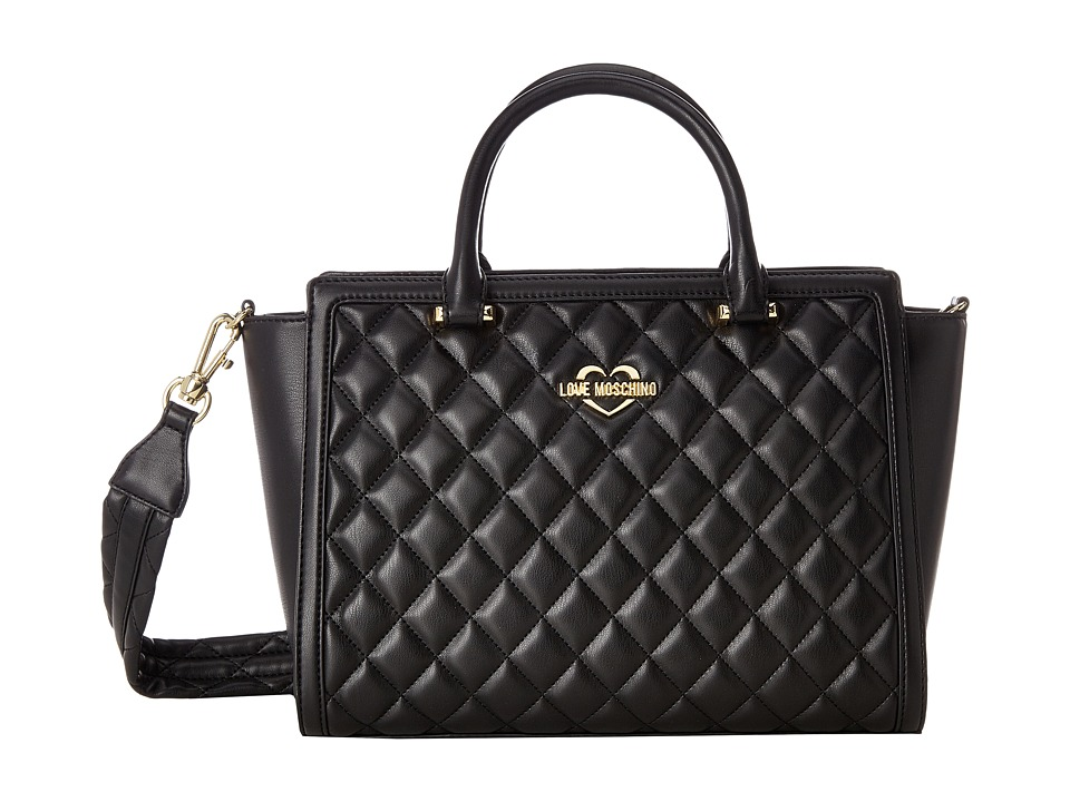 LOVE Moschino - Quilted Tote (Fantasy Black/Gold Logo) Tote Handbags