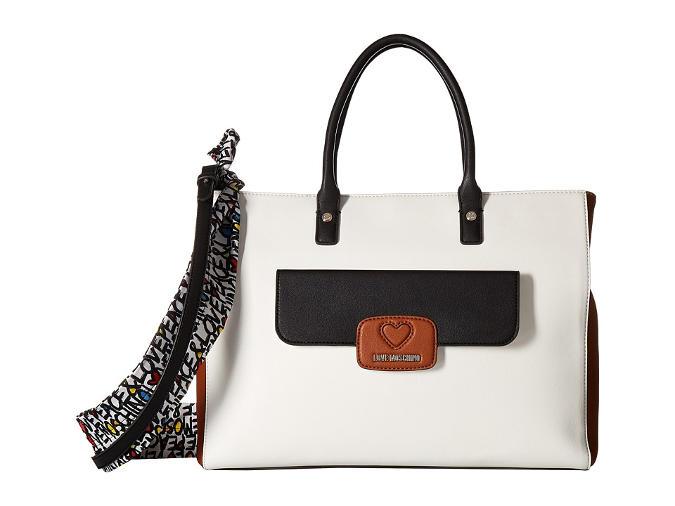 LOVE Moschino - Tote with Love Moschino Scarf (Fantasy White/Brown/Black) Tote Handbags