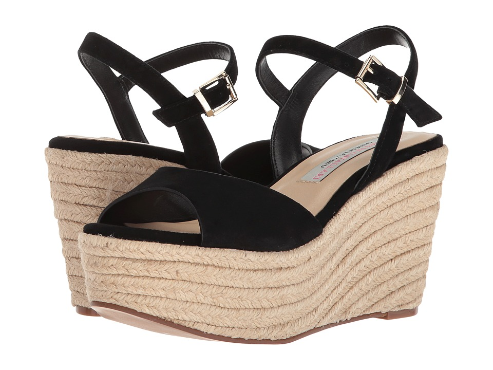Kristin Cavallari Brandie Espadrille Wedge (Black Kid Suede) Wedges