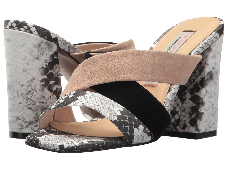 Kristin Cavallari Lola Slide Sandal (Grey/White Snake Leather) High Heels