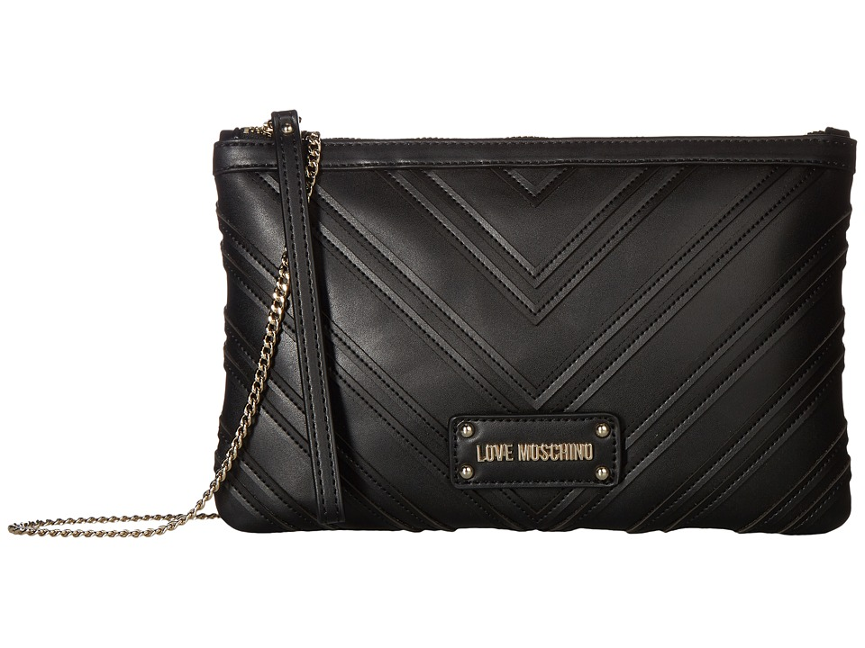 LOVE Moschino - Quilted Crossbody Chain Strap (Black) Cross Body Handbags