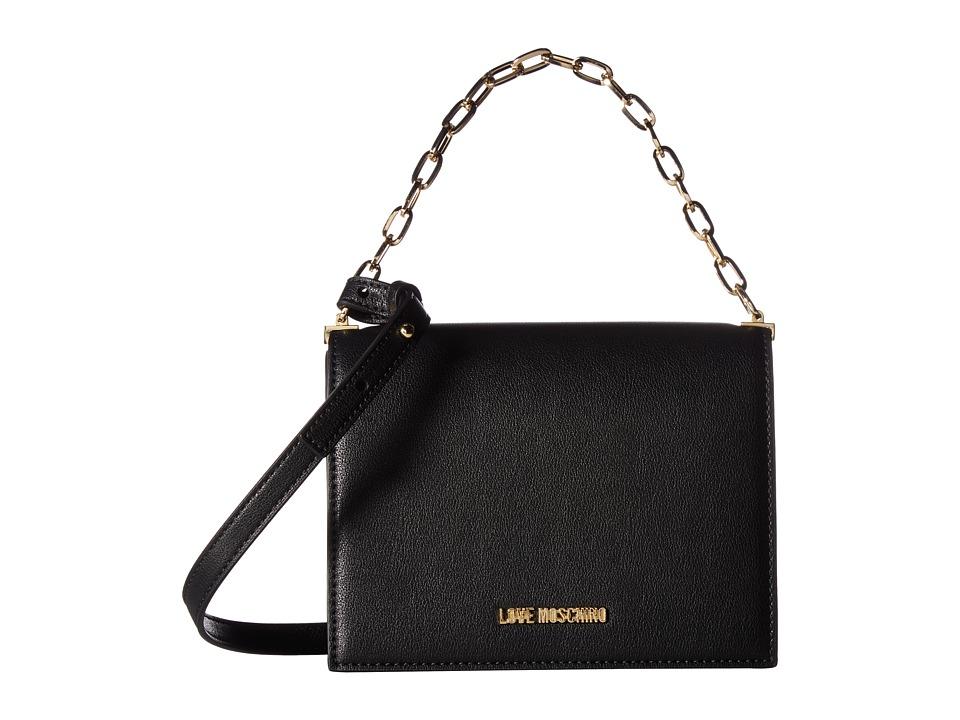 LOVE Moschino - Crossbody with Chain (Fantasy Black) Cross Body Handbags