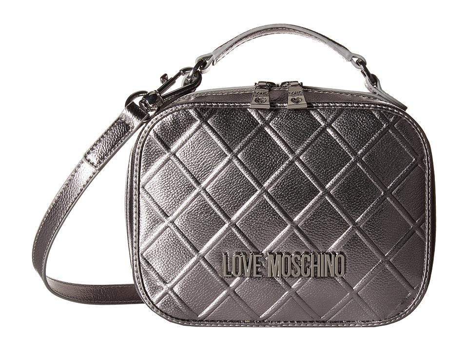 LOVE Moschino - Embossed Crossbody (Silver) Cross Body Handbags