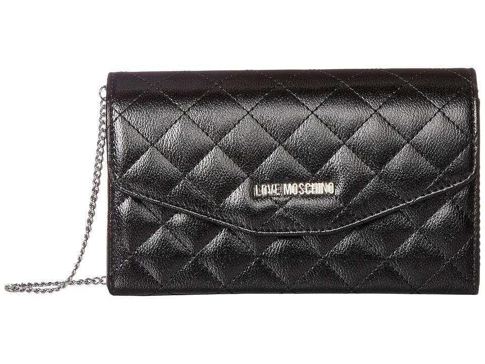 LOVE Moschino - Quilted Metallic Crossbody Chain Strap (Black) Cross Body Handbags