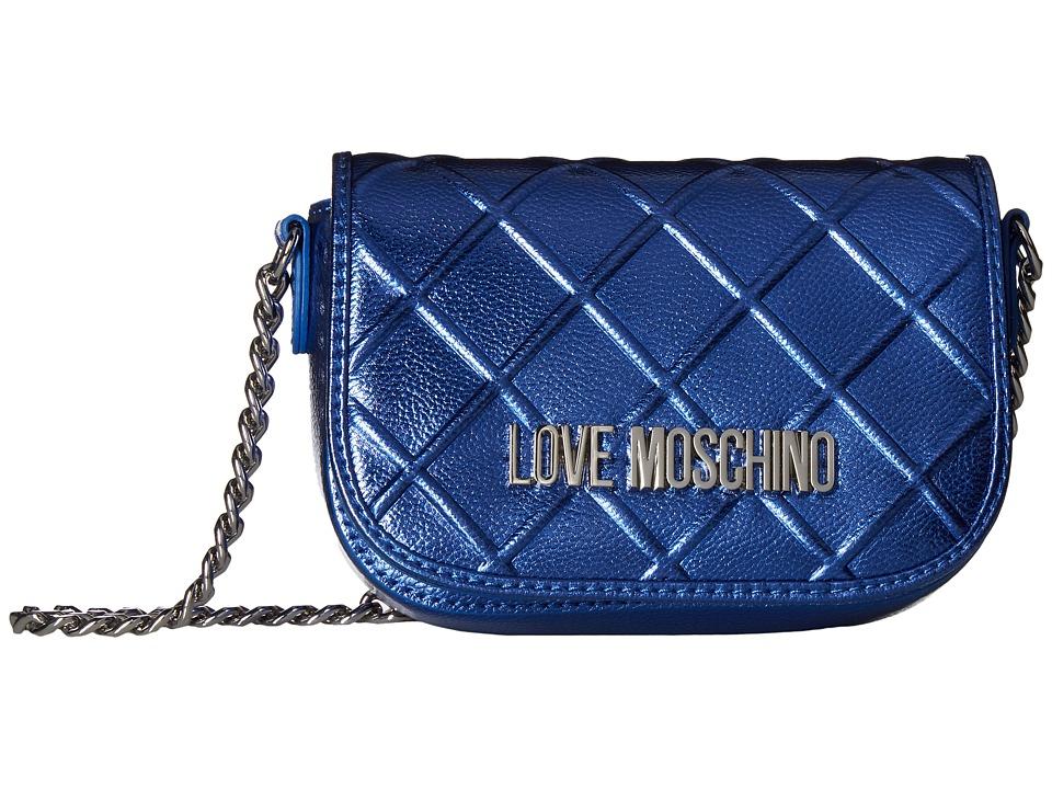 LOVE Moschino - Embossed Crossbody Chain Strap (Blue) Cross Body Handbags