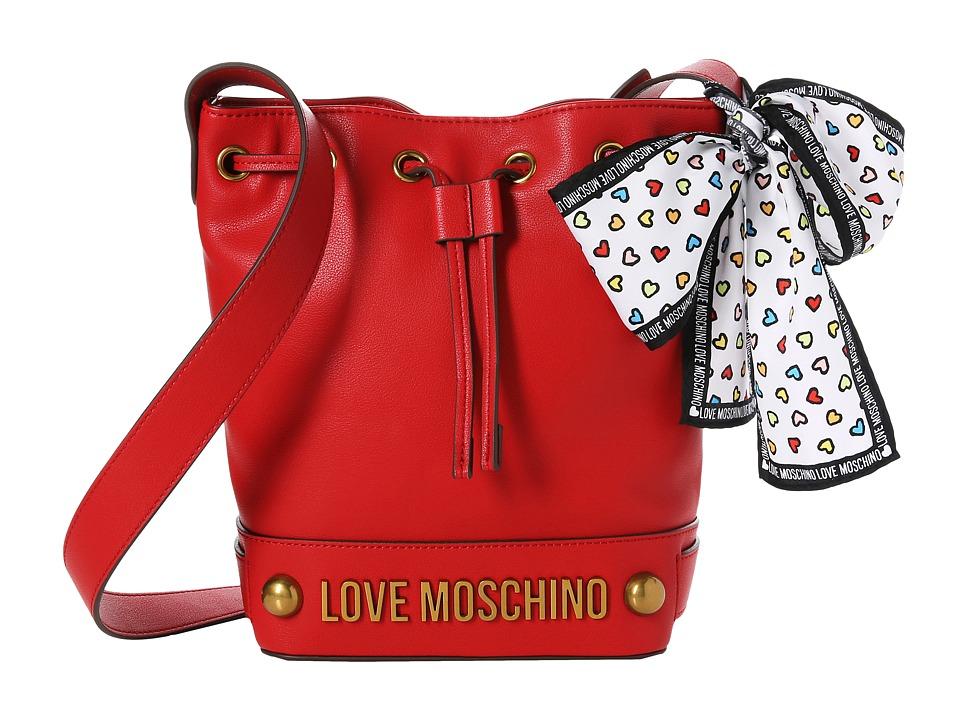 LOVE Moschino - Bucket Bag w/ Love Moschino Scarf (Red) Handbags