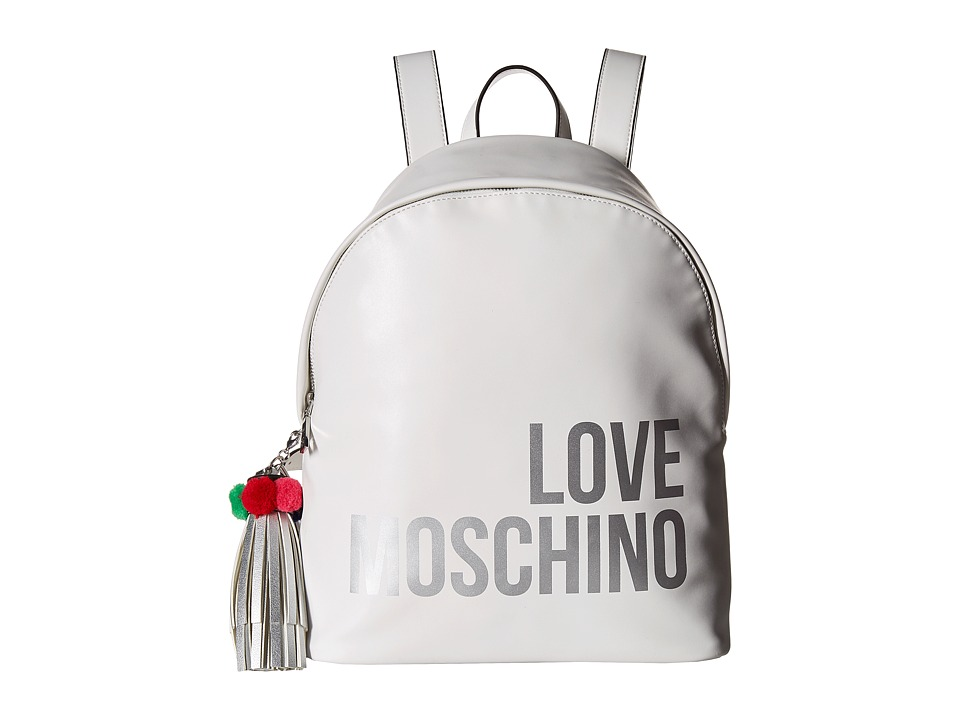 LOVE Moschino - Love Moschino Backpack w/ Tassel (White) Backpack Bags