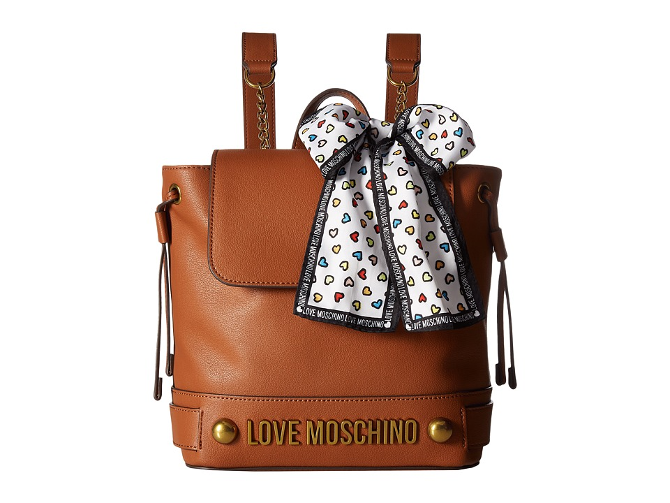 LOVE Moschino - Backpack w/ Love Moschino Scarf (Brown) Backpack Bags