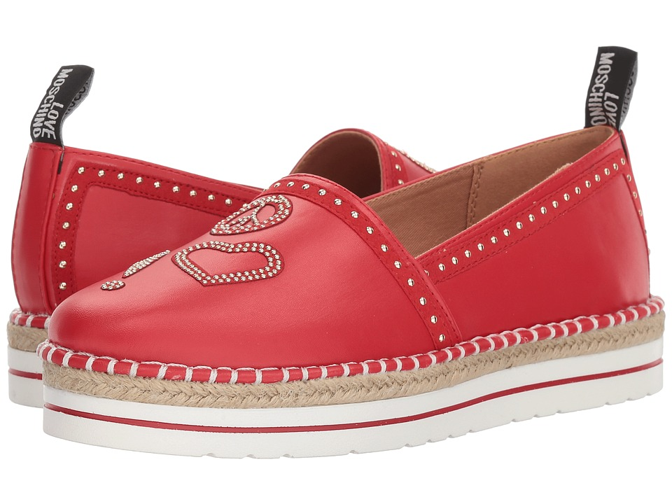 LOVE Moschino - Espadrille w/ Gold Details (Red) Womens Shoes