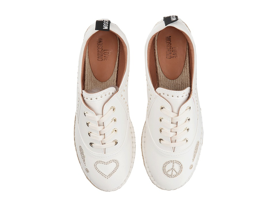 LOVE Moschino - Faux Leather Espadrille w/ Gold Details (White) Womens Shoes