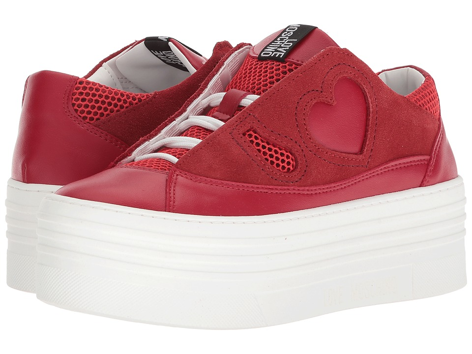 LOVE Moschino - Suede Platform Sneaker (Red) Womens Wedge Shoes