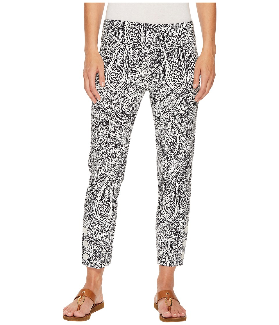 Elliott Lauren - Elastic Waist Pull-On Crop Pants with Ankle Button Detail (Navy/White) Womens Casual Pants