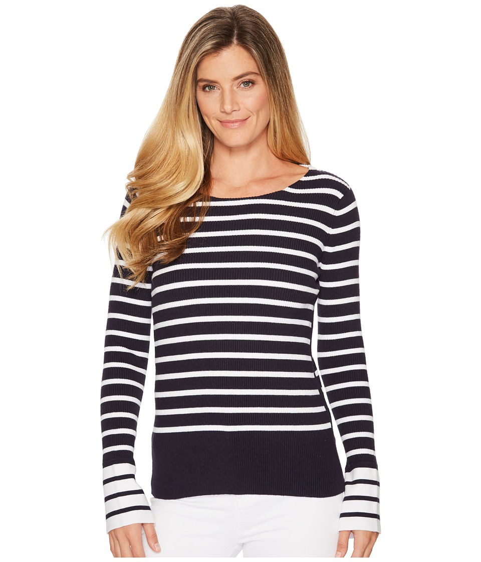 Elliott Lauren - Rib Stripe Sweater with Bell Sleeve and Slit Detail (Navy/White) Womens Sweater