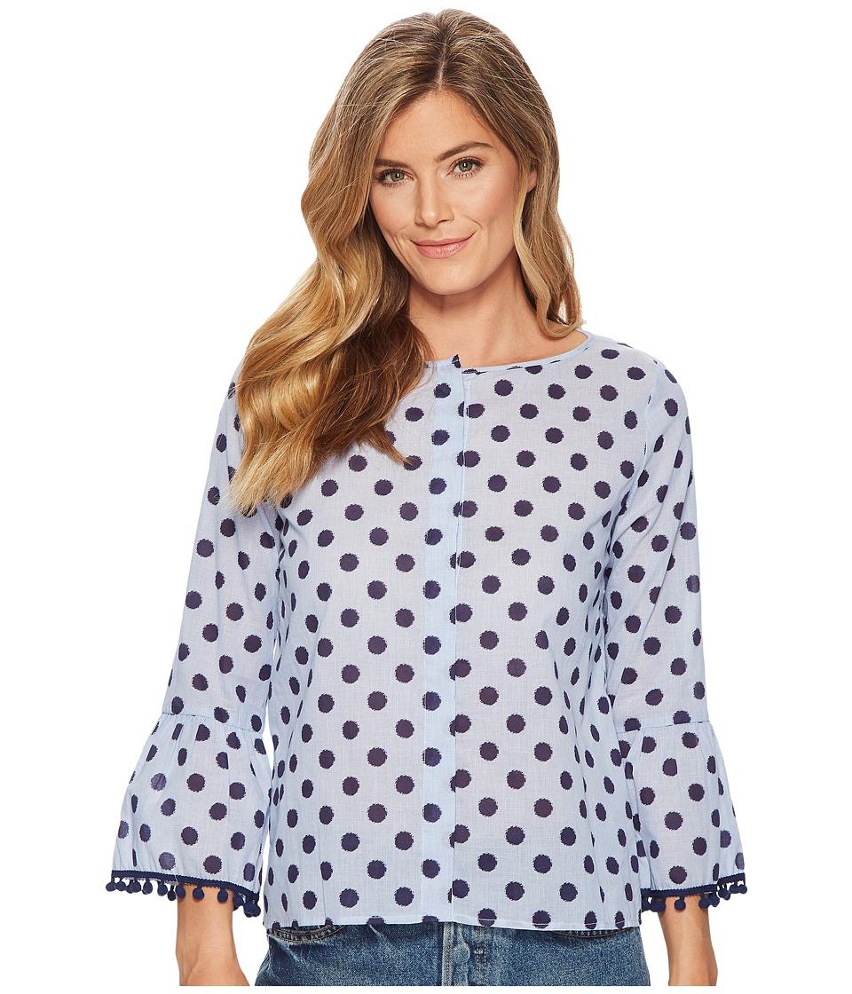 Elliott Lauren - Dot Shirt with Flare Sleeve and Pom Pom Trim Detail (Blue) Womens Clothing