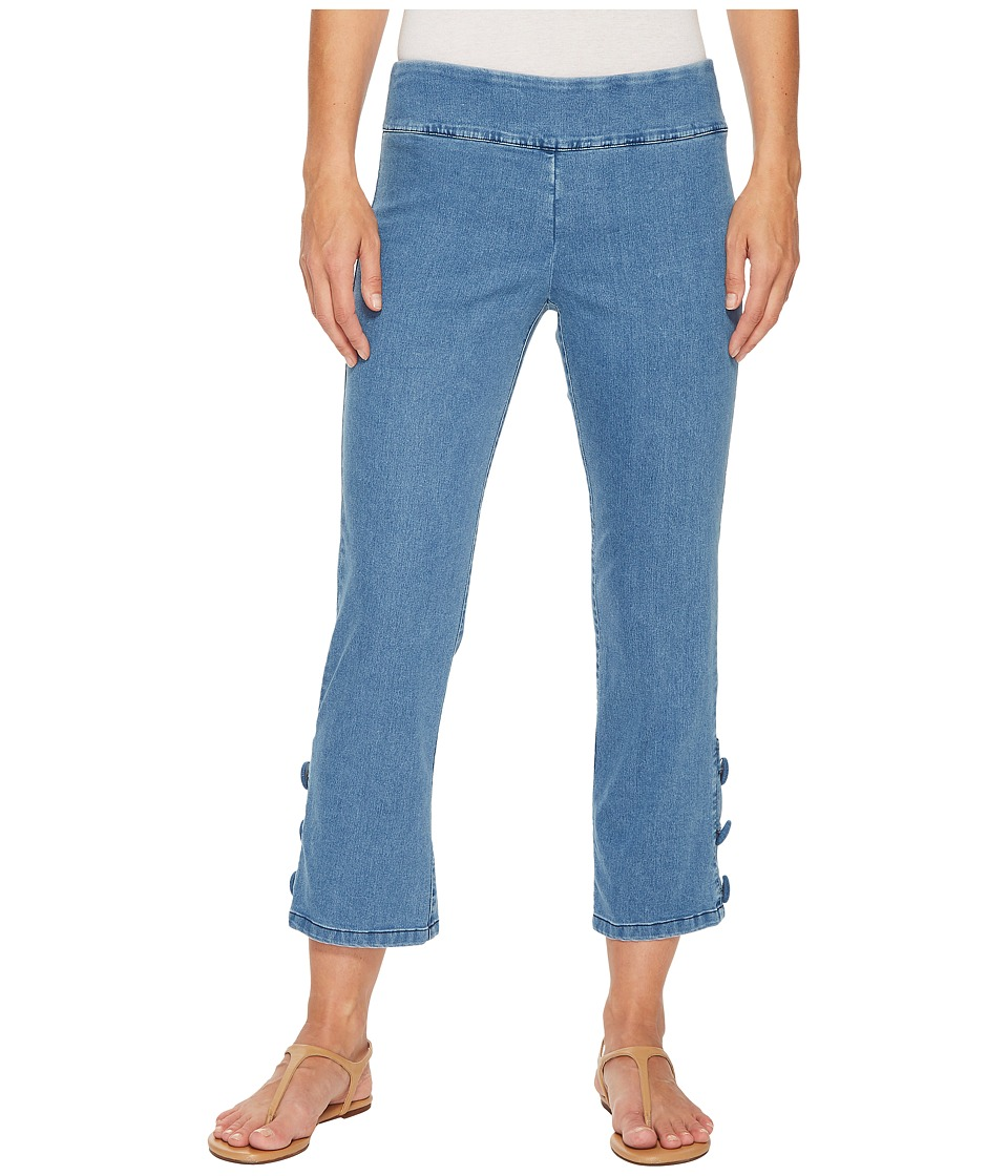 Elliott Lauren - Stretch Denim Pull-On Crop Pants with Covered Button (Indigo Blue) Womens Casual Pants