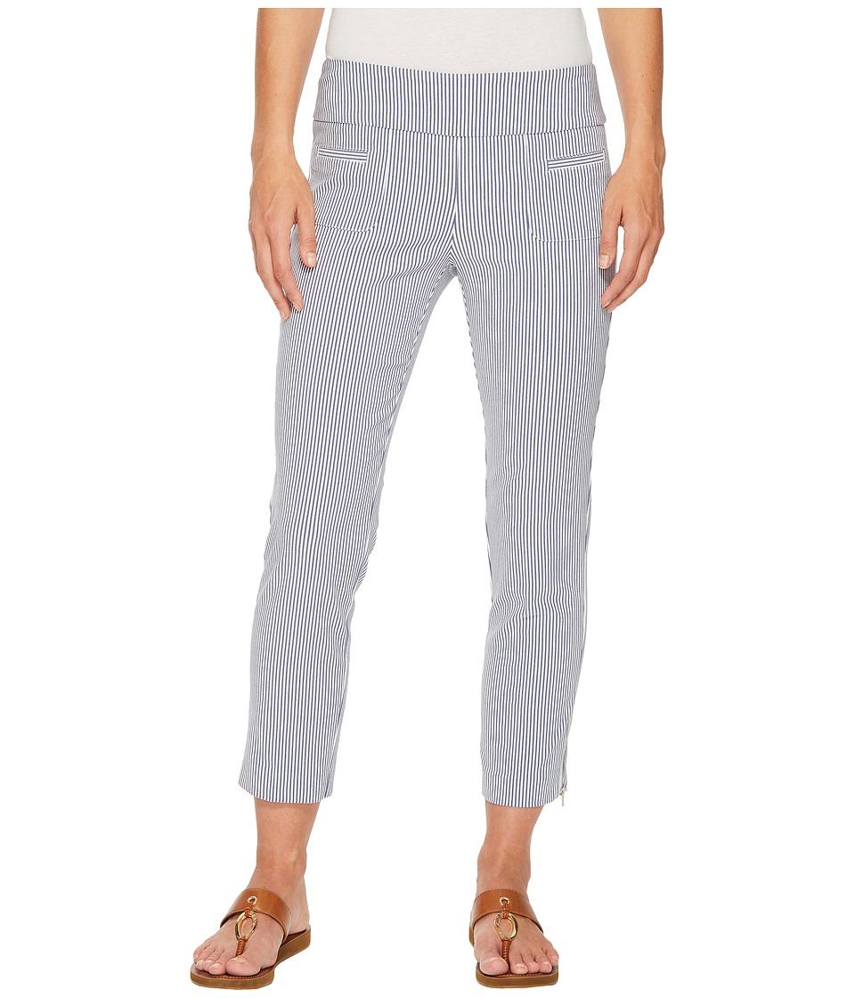 Elliott Lauren - Stretch Pull-On Regatta Stripe Crop Pants with Ankle Zip (Blue) Womens Casual Pants