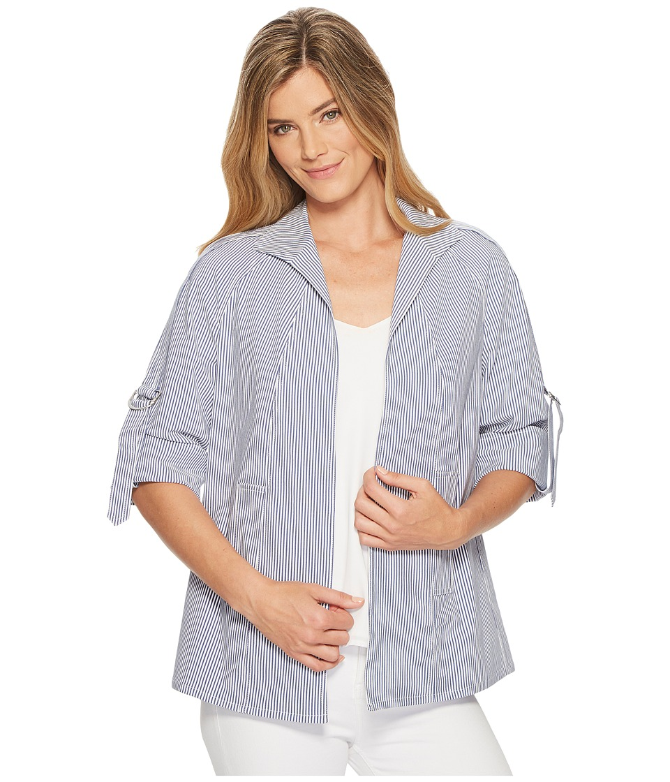 Elliott Lauren - Stretch Regatta Stripe Jacket with D Ring Detail (Navy/White) Womens Coat