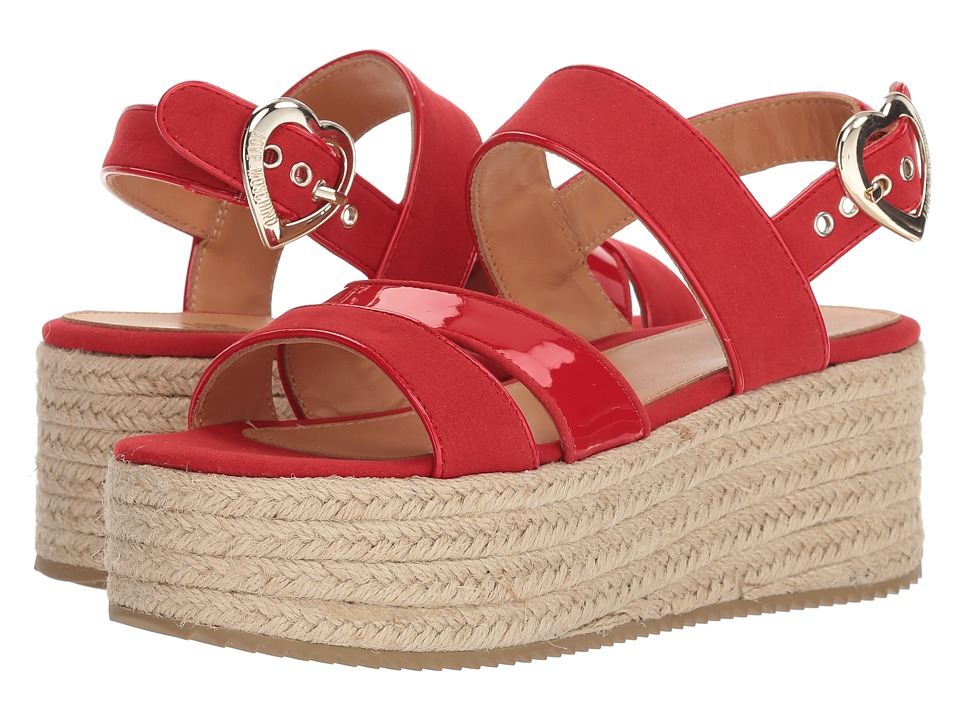 LOVE Moschino - Suede Platform Sandal (Red) Womens Wedge Shoes