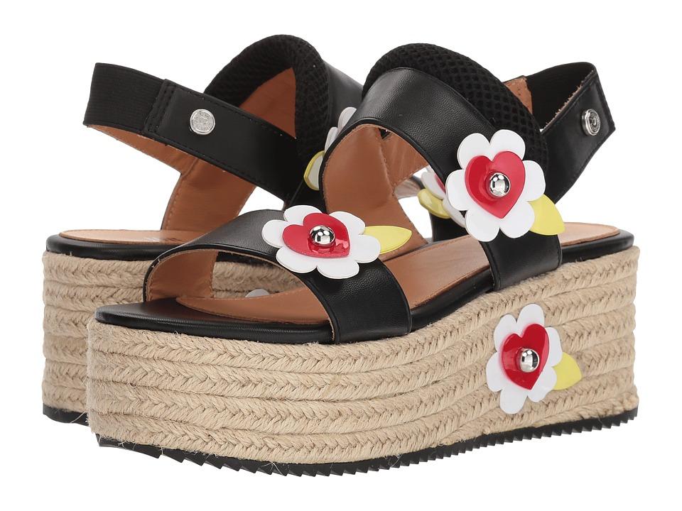 LOVE Moschino - Leather Platform Sandal w/ Flowers (Black) Womens Wedge Shoes