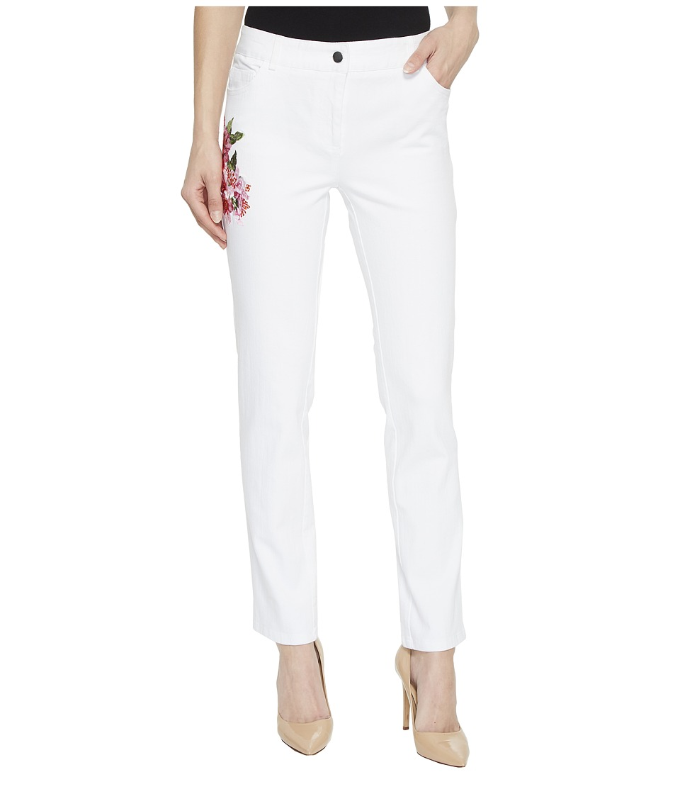 Elliott Lauren - Five-Pocket Jeans with Floral Embroidery in White (White) Womens Jeans