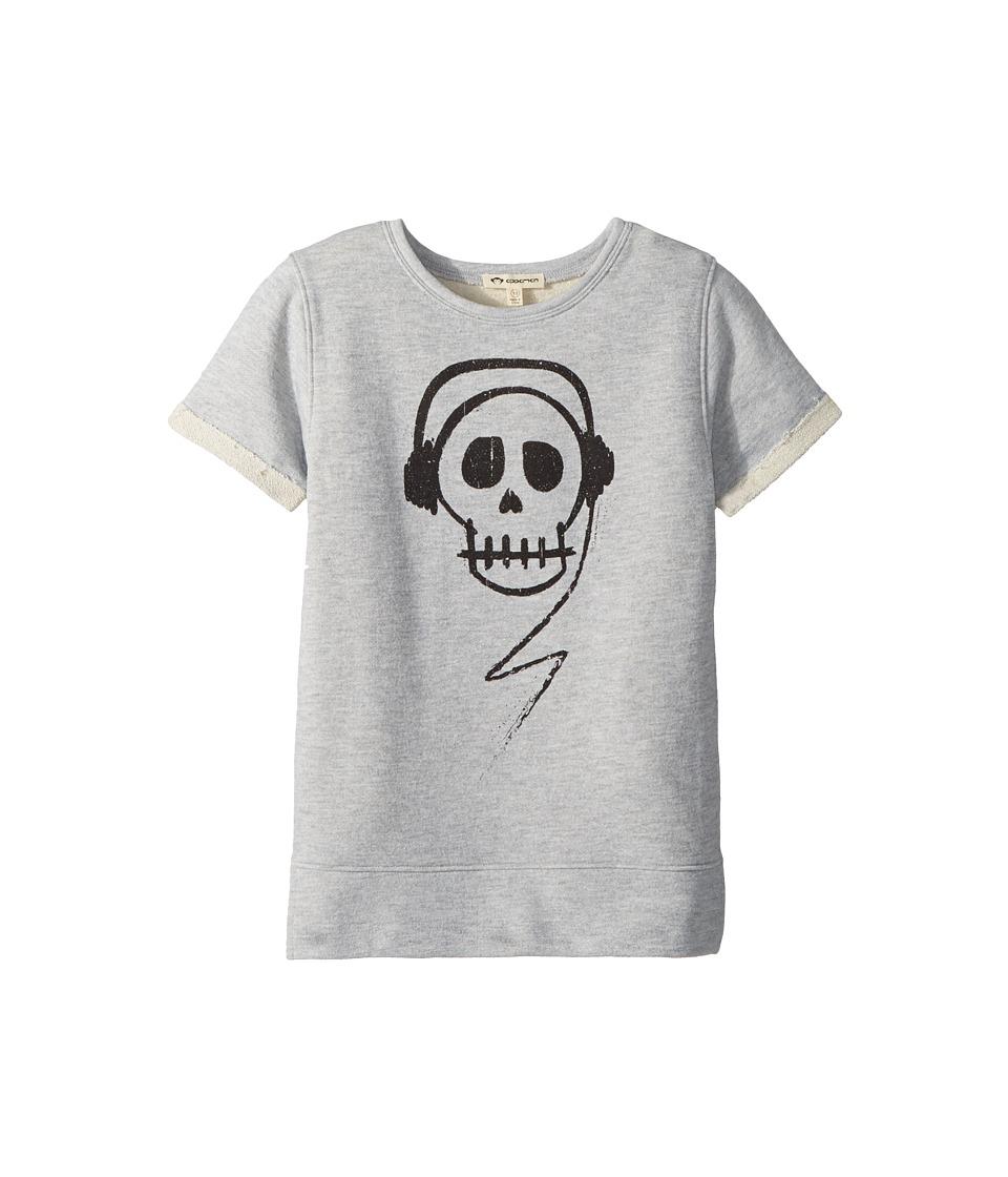 Appaman Kids - Skull with Headphones Short Sleeve Sweatshirt (Toddler/Little Kids/Big Kids) (Heather Mist) Boys Sweatshirt