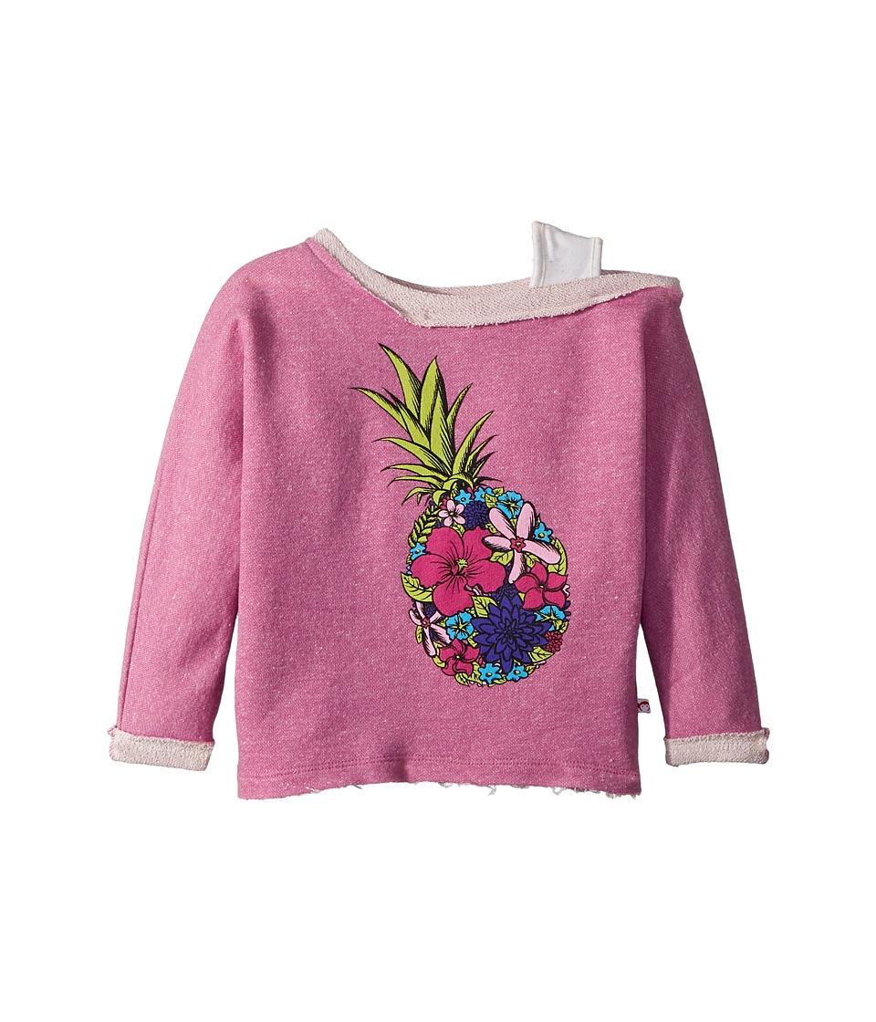 Appaman Kids - Ulta Soft Flower Pineapple Off Shoulder Sweatshirt (Toddler/Little Kids/Big Kids) (Wild Berry) Girls Sweatshirt