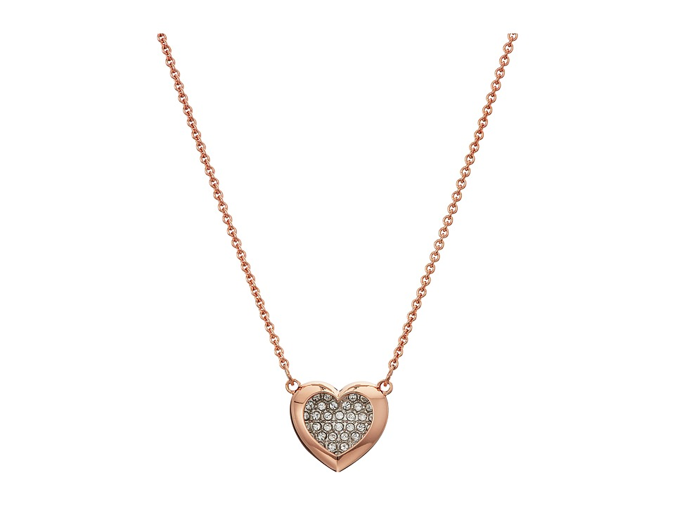Swarovski Hall Heart Pendant Necklace (White/Rose Gold Pl...
