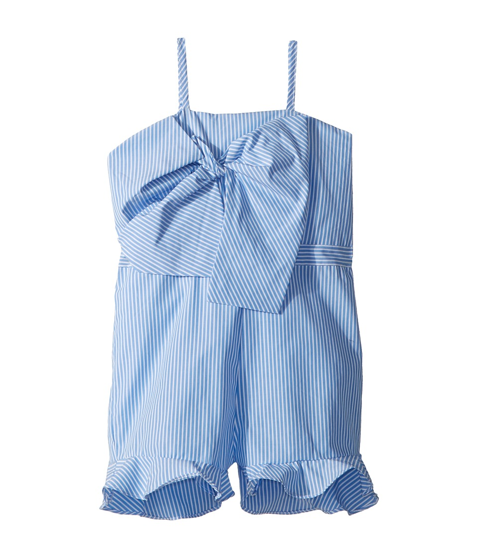Bardot Junior - Jen Bow Romper (Big Kids) (Placid Blue Stripe) Girls Jumpsuit & Rompers One Piece