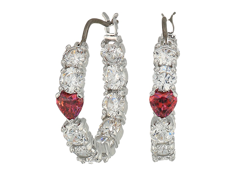 Swarovski Love Hoop Pierced Earrings (Rhodium Plating/Whi...