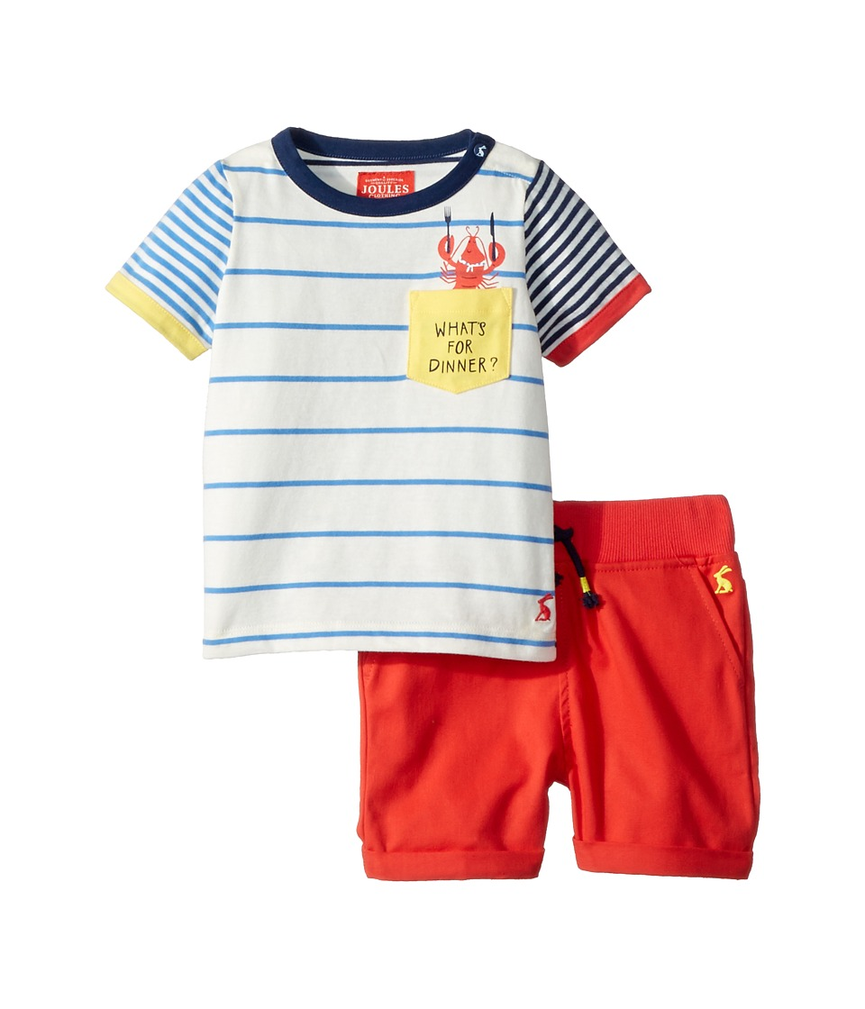 Joules Kids - Whats For Dinner Woven Shorts Set (Infant) (Cream Multi Stripe) Boys Active Sets
