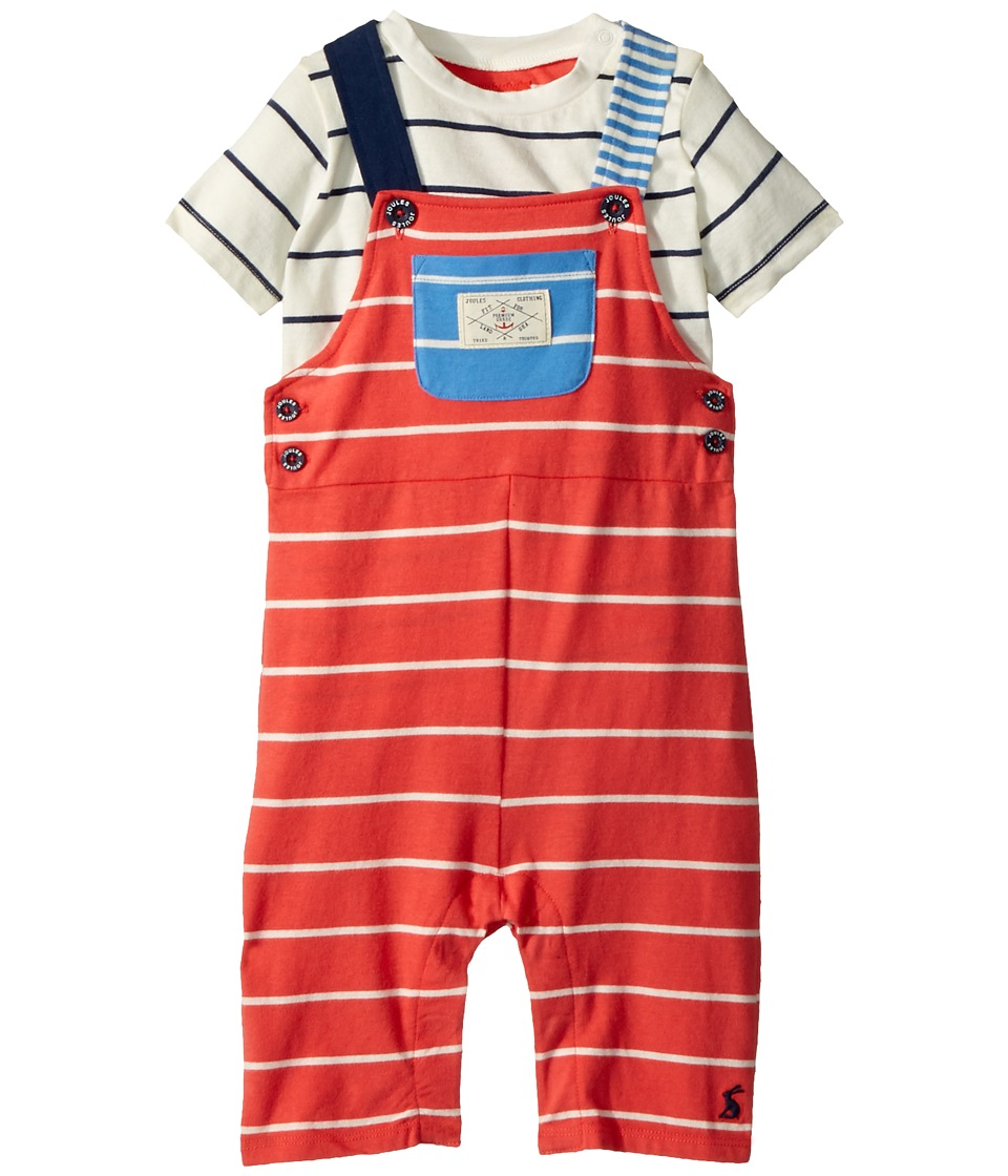 Joules Kids - Jersey Overall T-Shirt Set (Infant) (Melon Red Stripe) Boys Active Sets