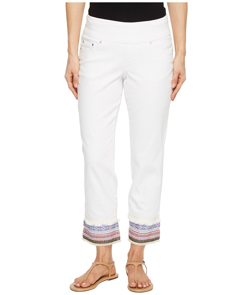 Jag Jeans - Peri Straight Pull-On Ankle Jeans w/ Embroidery (White) Womens Jeans