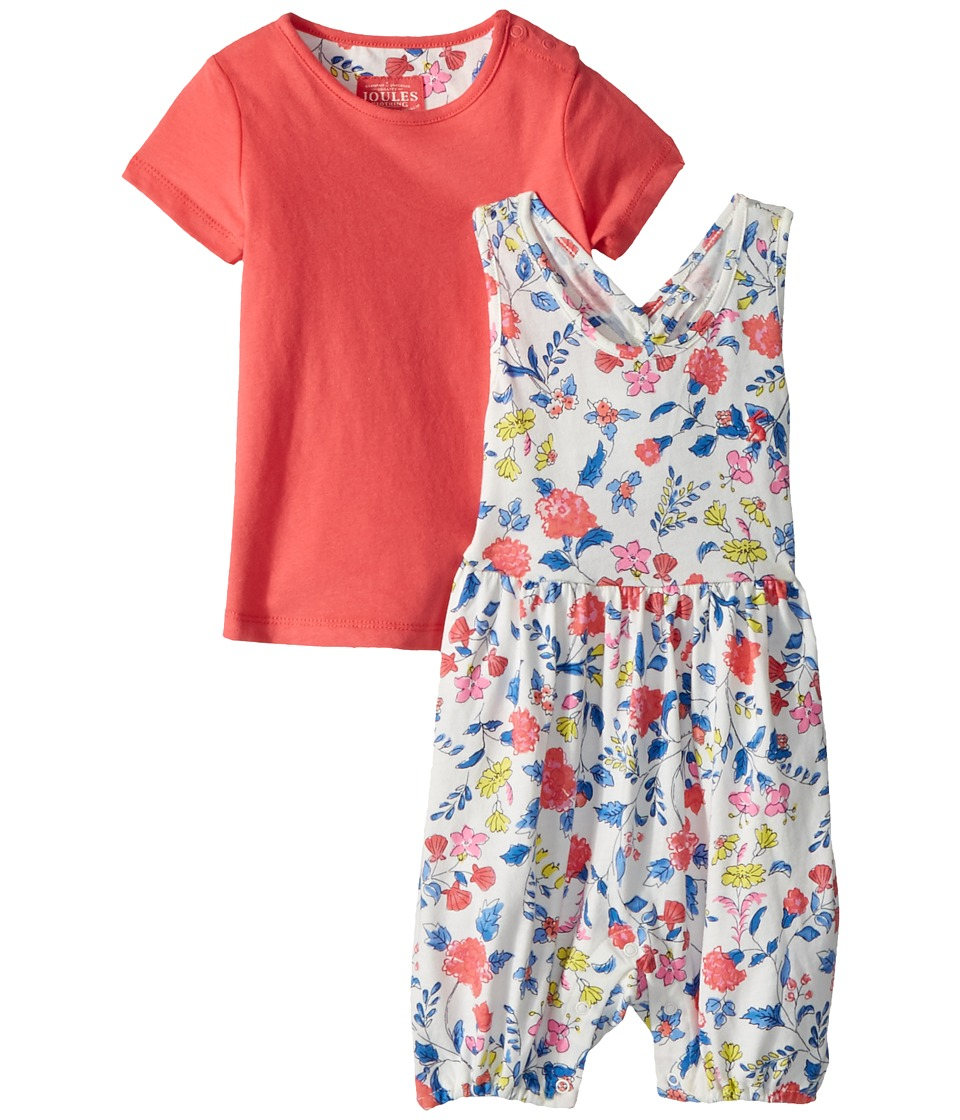 Joules Kids - Printed Overall and T-Shirt Set (Infant) (Beach Ditsy) Girls Active Sets