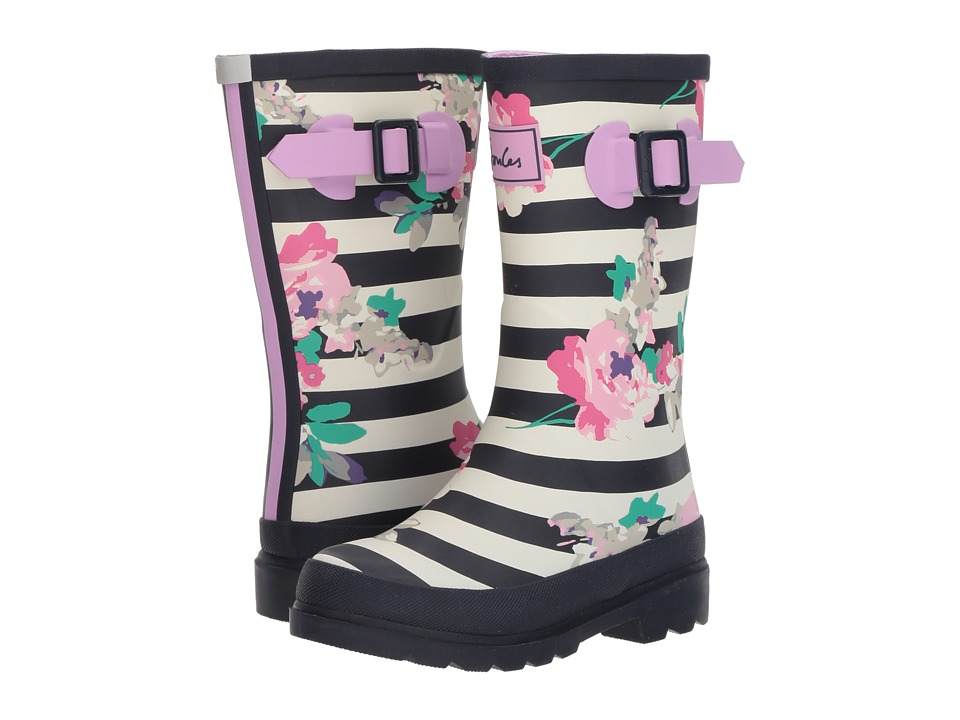 Joules Kids - Printed Welly Rain Boot (Toddler/Little Kid/Big Kid) (Margate Floral Stripe) Girls Shoes