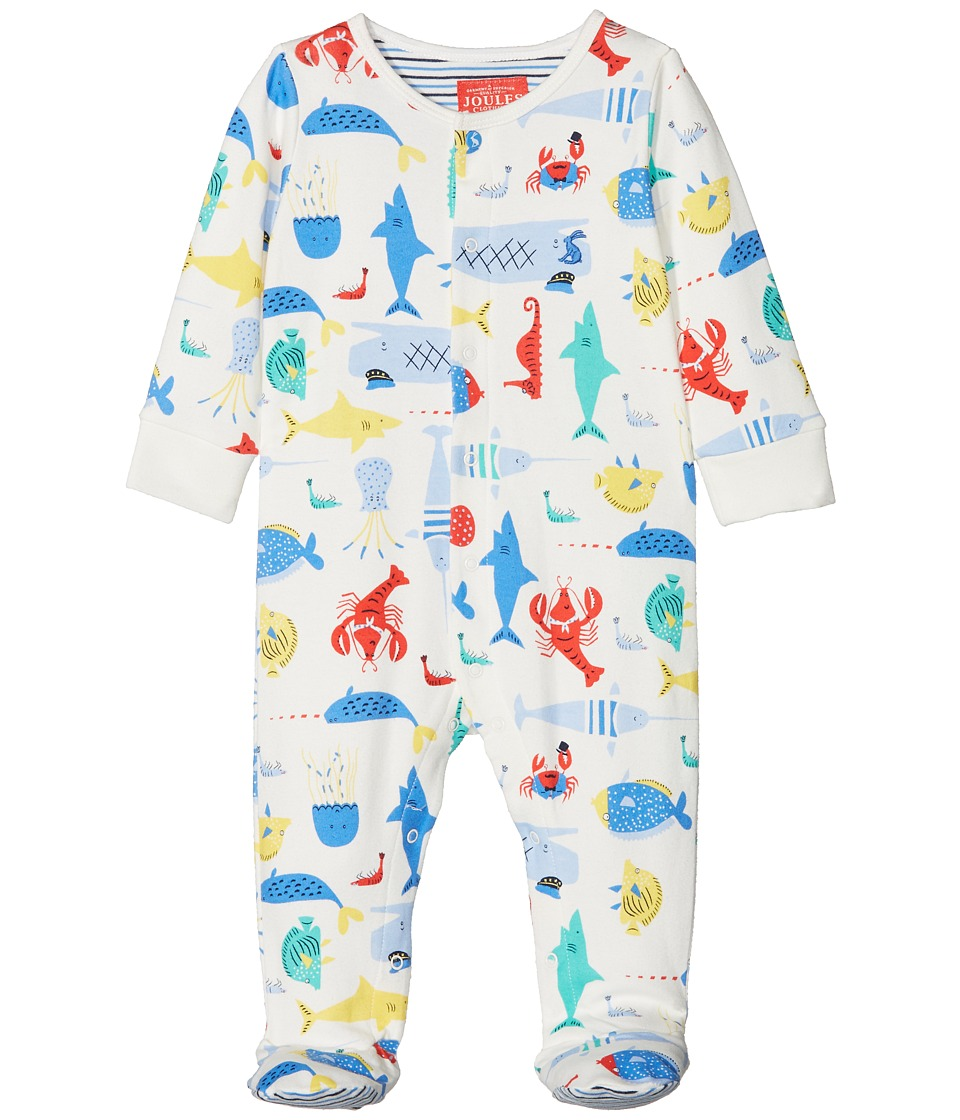 Joules Kids - All Over Printed Footie (Infant) (Cream Sea Time) Boys Jumpsuit & Rompers One Piece